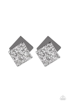 ​Square With Style - Black - Paparazzi Earring Image