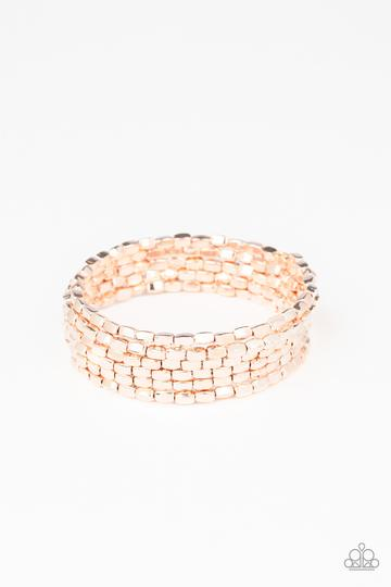 Paparazzi Bracelet ~ Stunningly Stacked - rose gold