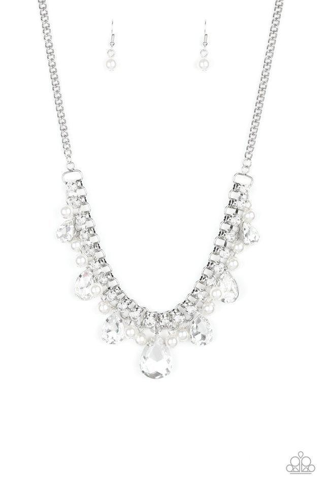 Paparazzi Necklace ~ Knockout Queen - White