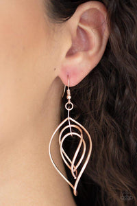 Paparazzi Earring ~ Asymmetrical Allure - Rose Gold