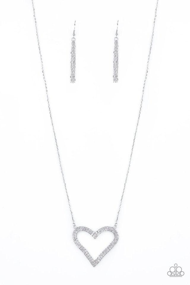 Paparazzi Necklace ~ Pull Some HEART-strings - White