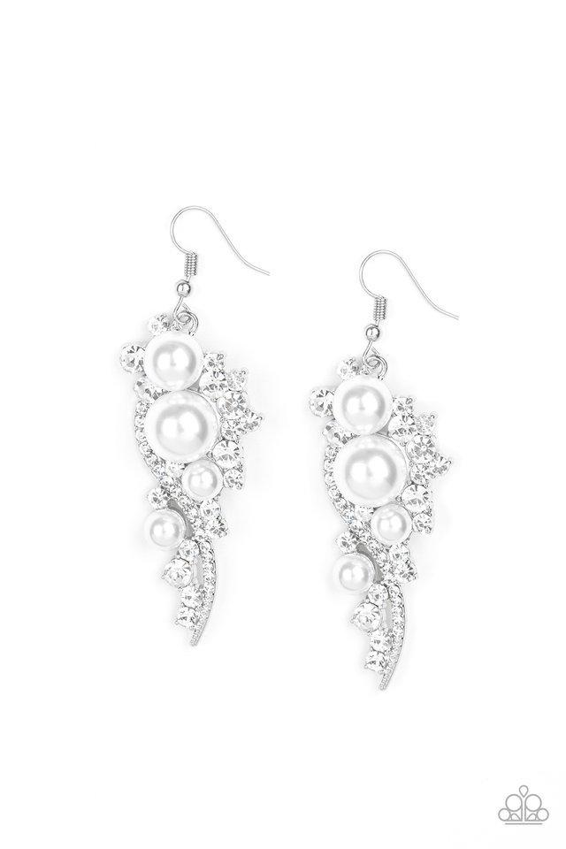 Paparazzi Earring ~ High-End Elegance - White