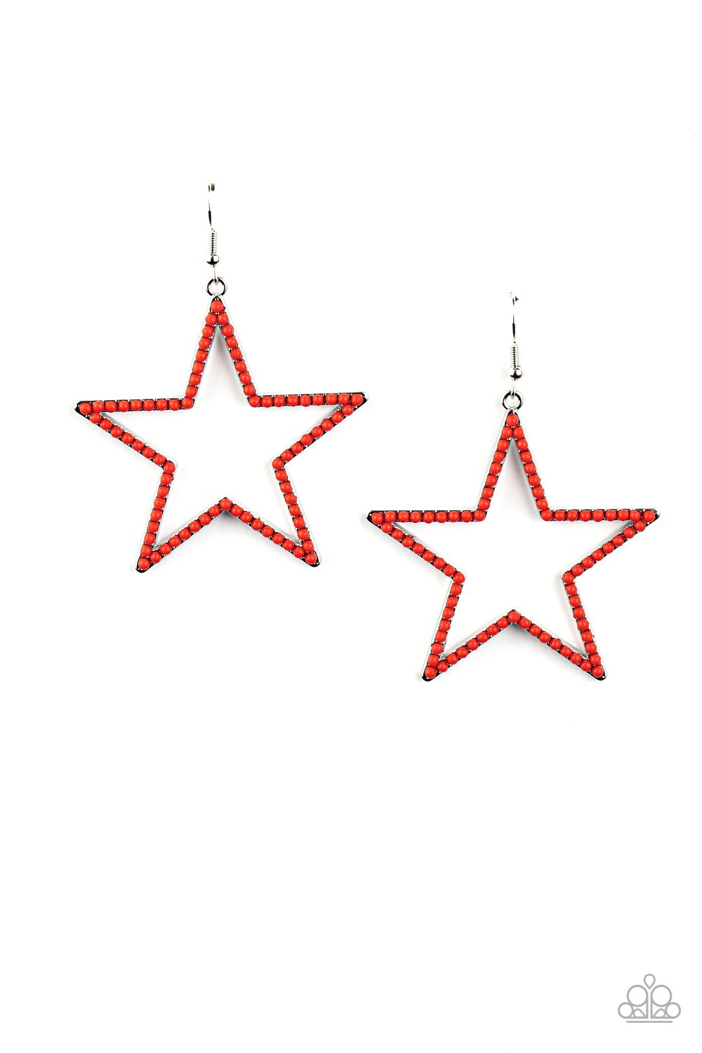 Paparazzi Earrings ~ Count Your Stars - Red