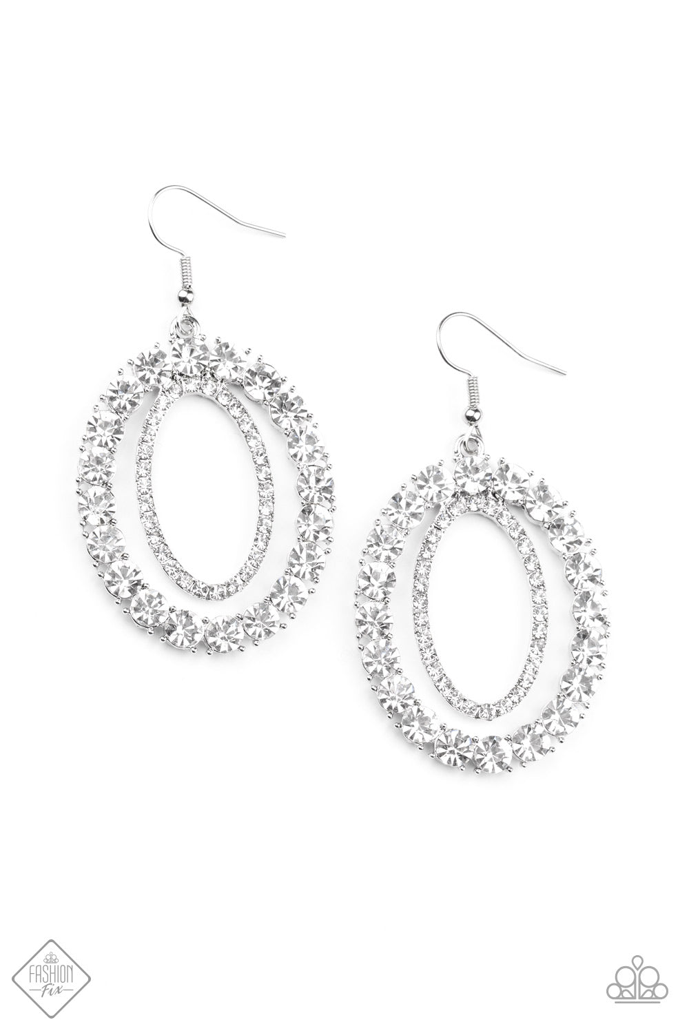 Paparazzi Earrings ~ Deluxe Luxury - Fashion Fix Nov 2020 - White
