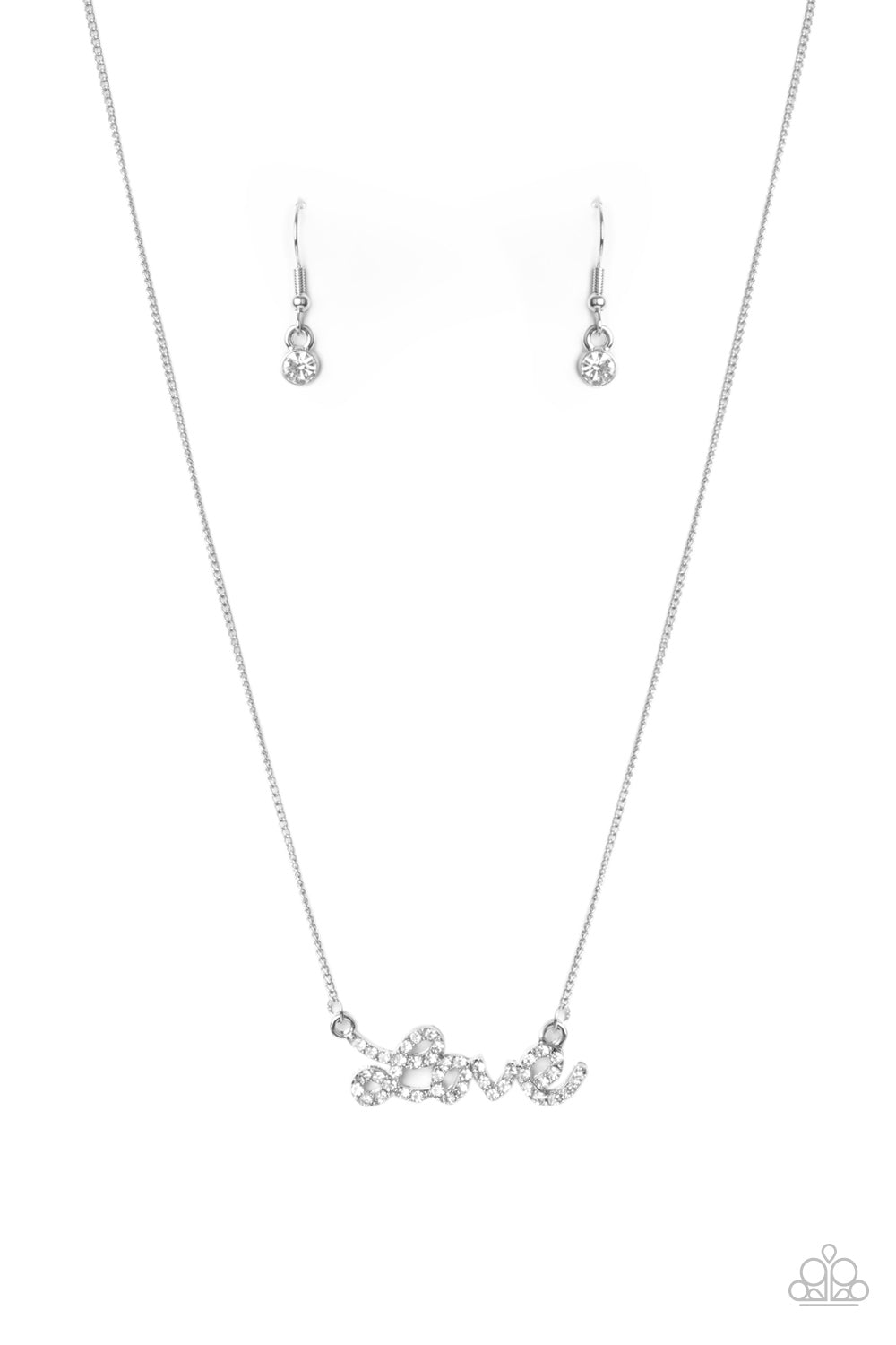 Paparazzi Necklace ~ Head Over Heels In Love - White