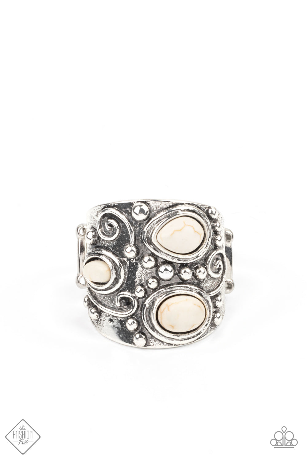 Paparazzi Ring Fashion Fix Jan 2021 ~ Modern Mountain Ranger - White