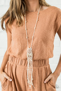 Paparazzi Necklace ~ Macrame Majesty - Fashion Fix Nov 2020 - White