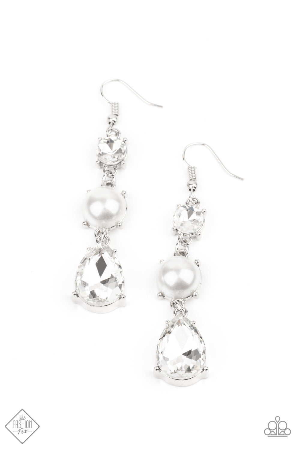 Paparazzi Earrings Fashion Fix Jan 2021 ~ Unpredictable Shimmer - White