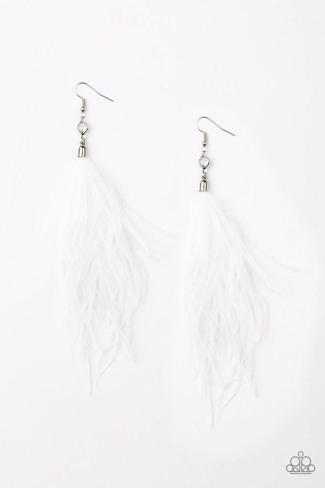 Paparazzi Earring ~ The SHOWGIRL Next Door - White