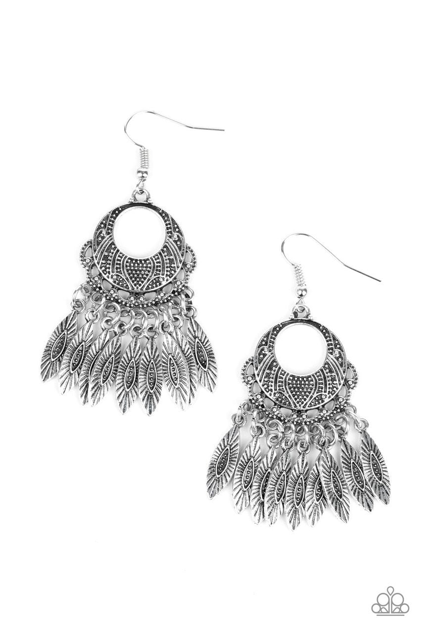 Paparazzi Earring ~ Country Chimes - Silver
