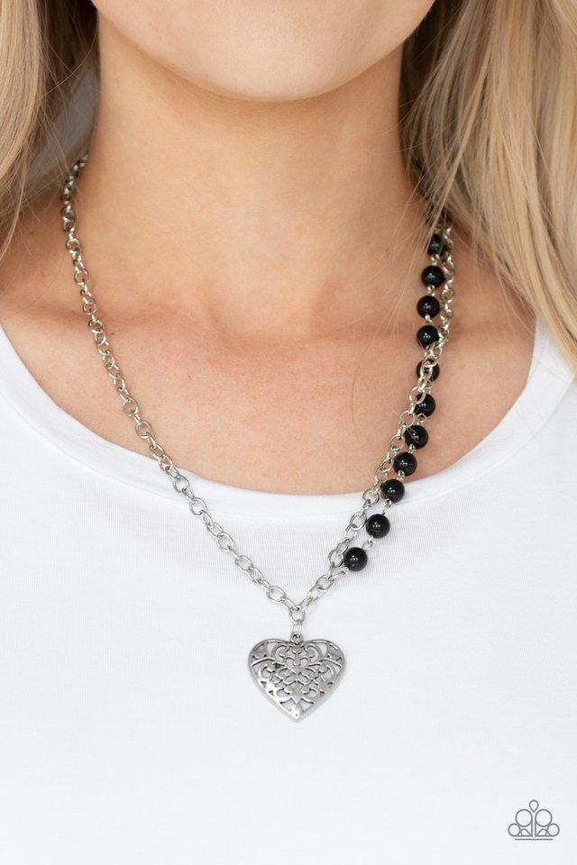 Paparazzi Necklace ~ Forever In My Heart - Black