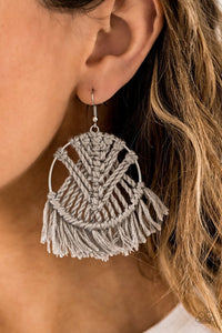 Paparazzi Earring ~ All About MACRAME - Silver