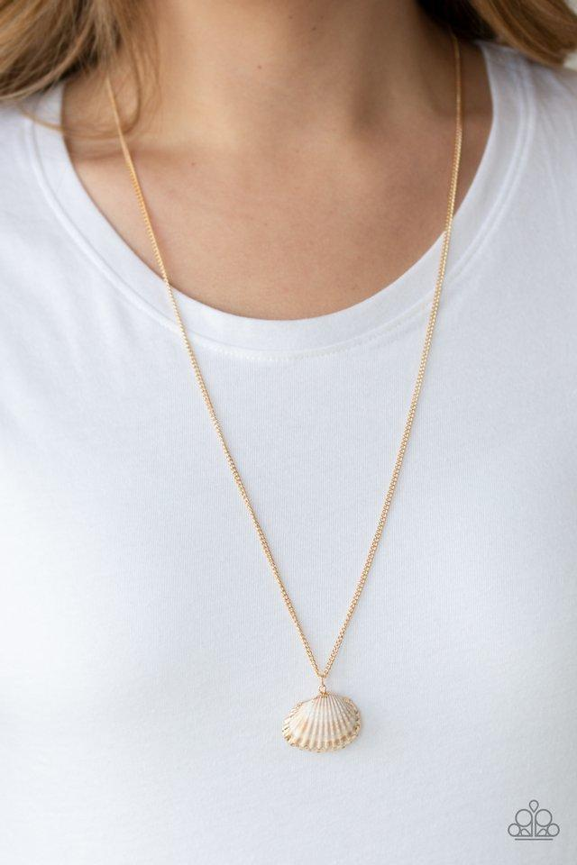 Paparazzi Necklace ~ Show and SHELL - Gold