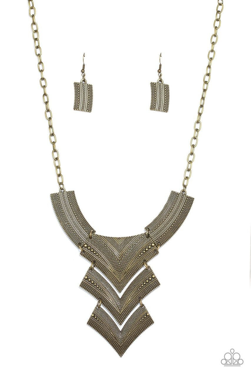 Paparazzi Necklace ~ Fiercely Pharaoh - Brass