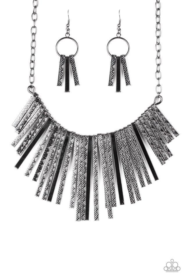 Paparazzi Necklace ~ Welcome To The Pack - Black