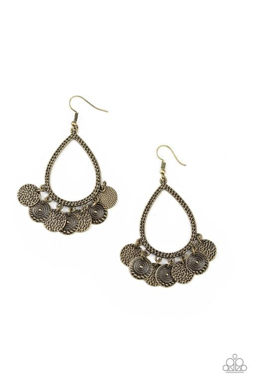 Paparazzi Earring ~ All In Good CHIME - Brass