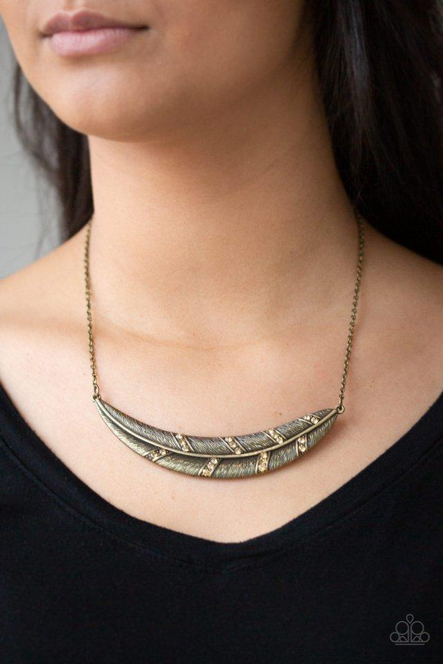 Paparazzi Necklace ~ Say You QUILL - Brass