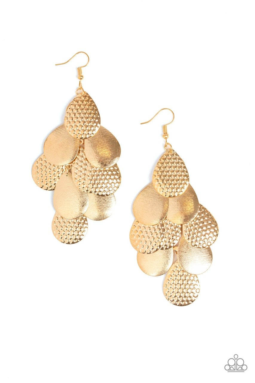 Paparazzi Earring ~ Chime Time - Gold