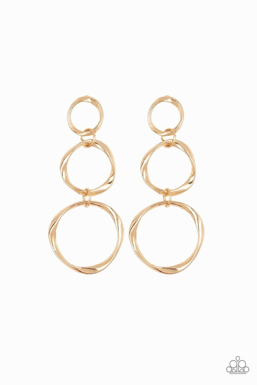 Paparazzi Earring ~ Three Ring Radiance - Gold
