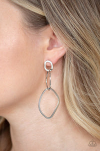 Paparazzi Earring ~ Twisted Trio - Silver