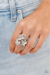 Paparazzi Ring ~ Flighty Flutter - White