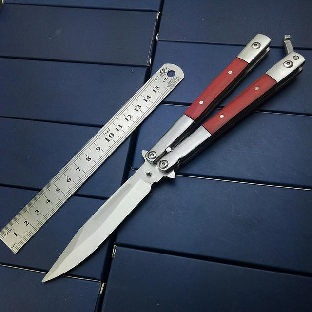 Butterfly In Knife Stainless Steel Blade No Sharp Metal Handle With Wooden Acrylic 3 Styles High Quality