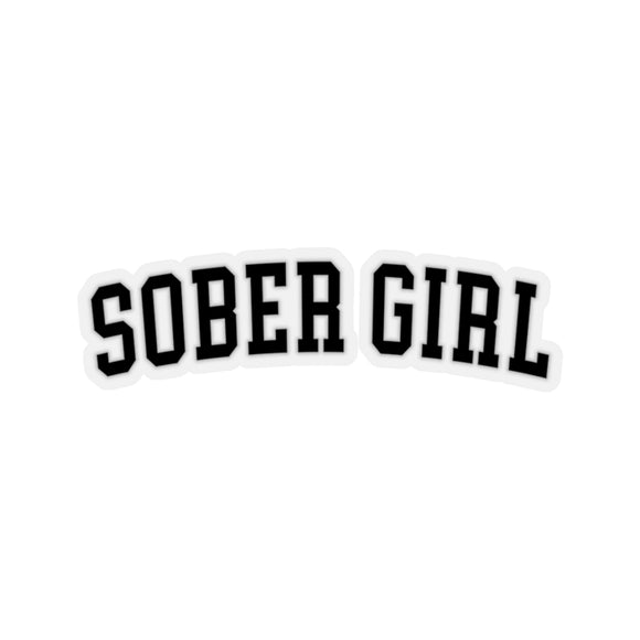 Sober Girl Varsity Sticker (black)