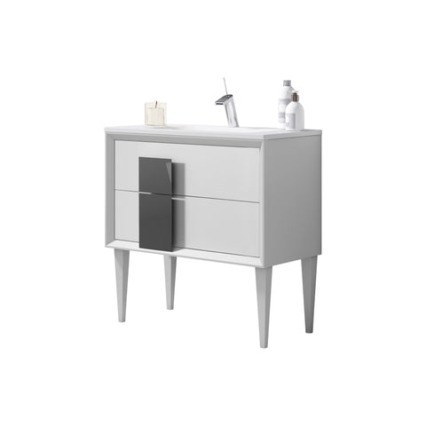 "40"" White  Cristal Freestanding Single Bathroom  Vanity"