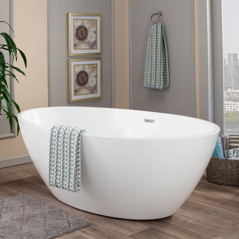 "Image of Jolie 69"" x 40"" Freestanding Soaking Acrylic Bathtub"