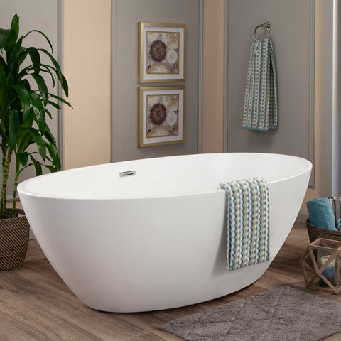 "Jolie 69"" x 40"" Freestanding Soaking Acrylic Bathtub"