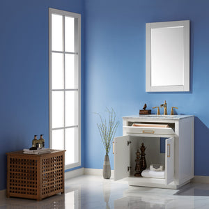 "Altair Design Ivy 30"" Single Bathroom Vanity Set in White  with Mirror,  H 33.1 x W 29.2 x D 21.6"""