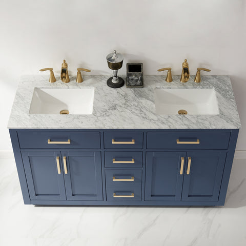 "Ivy 60"" Double Bathroom Vanity Set in Royal Blue without Mirror"