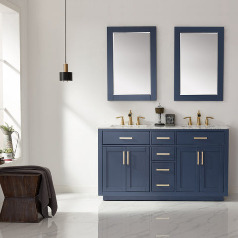 "Ivy 60"" Double Bathroom Vanity Set in Royal Blue  with Mirror"