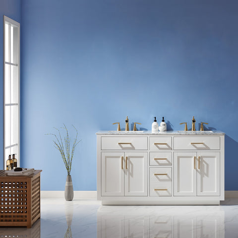 "Ivy 60"" Double Bathroom Vanity Set in White  without Mirror"