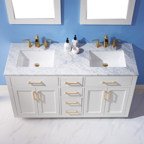 "Ivy 60"" Double Bathroom Vanity Set in White with Mirror"