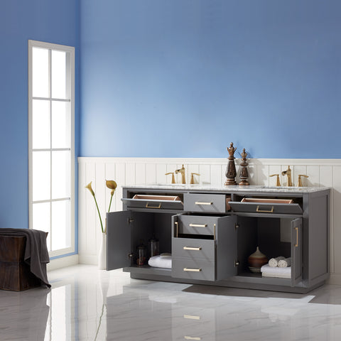 "Image of Ivy 72"" Double Bathroom Vanity Set in Grey  without Mirror"