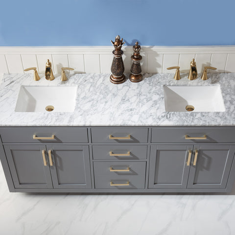 "Ivy 72"" Double Bathroom Vanity Set in Grey  without Mirror"