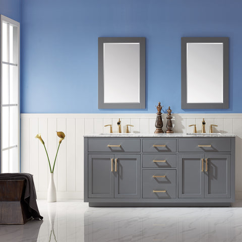 "Ivy 72"" Double Bathroom Vanity Set in Grey  with Mirror"