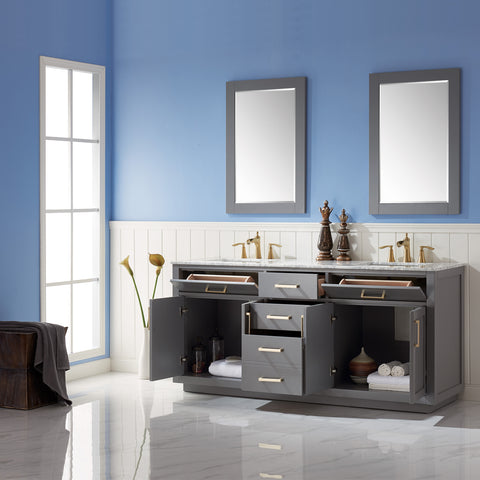 "Image of Ivy 72"" Double Bathroom Vanity Set in Grey  with Mirror"