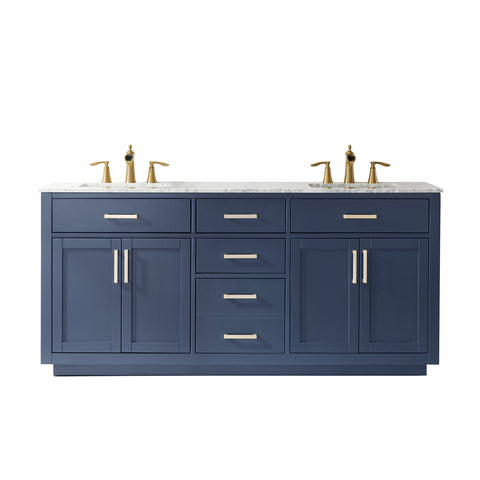 "Ivy 72"" Double Bathroom Vanity Set in Royal Blue  without Mirror"