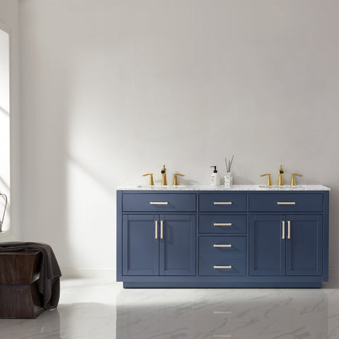 "Image of Ivy 72"" Double Bathroom Vanity Set in Royal Blue  without Mirror"