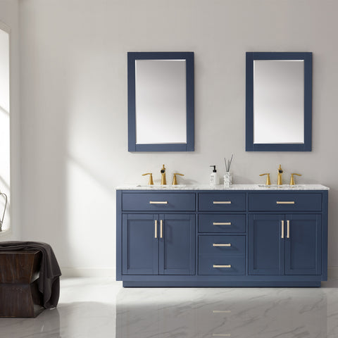 "Ivy 72"" Double Bathroom Vanity Set in Royal Blue  with Mirror"
