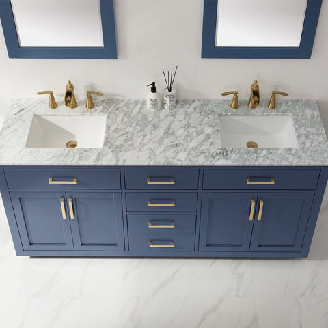 "Image of Ivy 72"" Double Bathroom Vanity Set in Royal Blue  with Mirror"