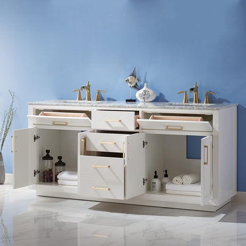 "Ivy 72"" Double Bathroom Vanity Set in White  without Mirror"