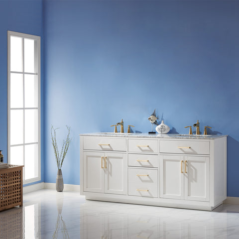 "Image of Ivy 72"" Double Bathroom Vanity Set in White  without Mirror"