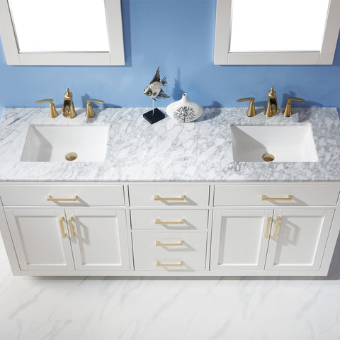 "Image of Ivy 72"" Double Bathroom Vanity Set in White  with Mirror"