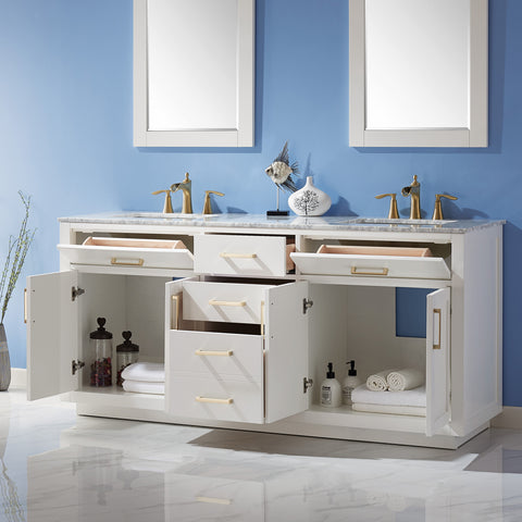 "Ivy 72"" Double Bathroom Vanity Set in White  with Mirror"