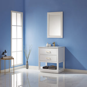 "Altair Design Remi 30"" Single Bathroom Vanity Set in White  with Mirror,  H 33.1 x W 29.2 x D 21.6"""