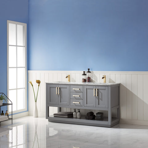 "Remi 60"" Double Bathroom Vanity Set in Grey without Mirror"