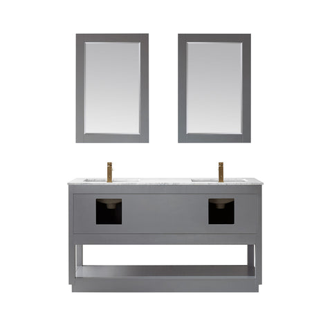 "Remi 60"" Double Bathroom Vanity Set in Grey  with Mirror"